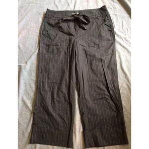 Cabi Gray Striped Wide Leg Sailor Button Pants 8